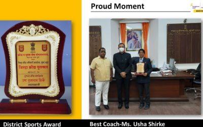 District Sports Award for Best Coach – Mrs. Usha Dhamnaskar